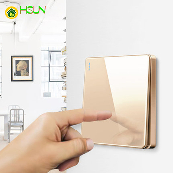 High-grade 1 2 3 4 gang 1 2 way big panel Golden switch socket Type 86 Wall 2.5D Cambered Mirror Toughened glass Computer TV 1