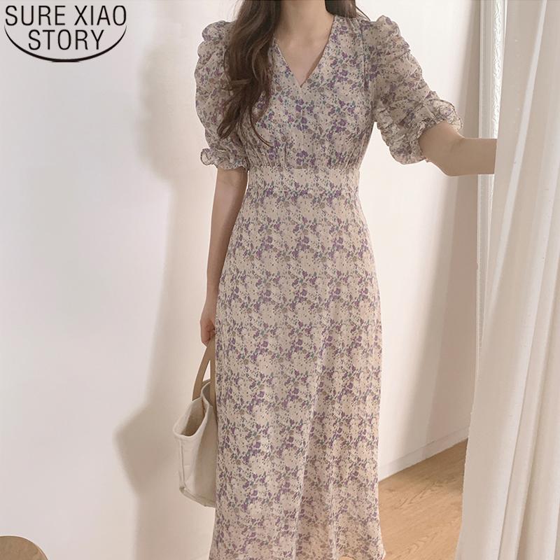 2021 Summer Korean Style Elegant dress vintage Floral Print High Waist V neck Short Sleeve Fashion Casual Ankle length Dresses