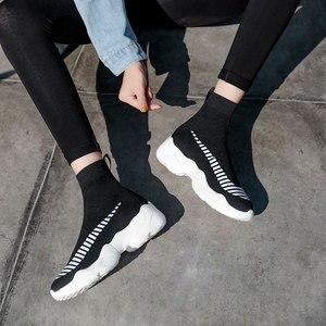 Image 4 - Mwy moda meia tênis feminino respirável elasticidade voando tecido casal sapatos casuais sola macia zapato mujer cunha plataforma