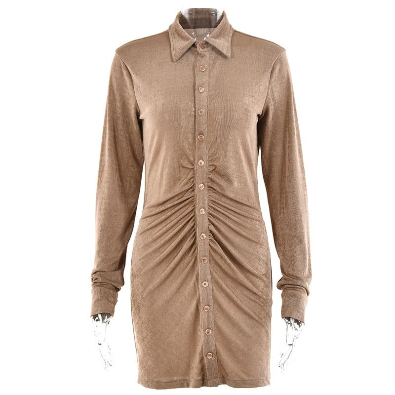 FANTOYE Pleated Turn-Down Collar Button Blouse Dress Women Sexy Long Sleeve Mini Dresses Solid Streetwear Female Shirt Vestidos 11