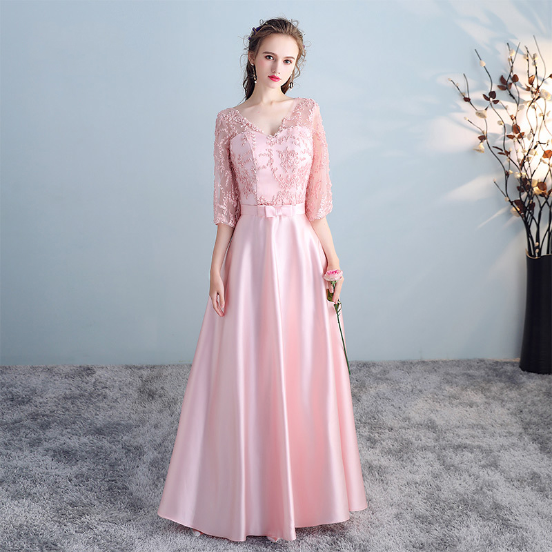 Light Pink Bridesmaid Dresses Pattern A Line Lace Top Vestido De Festa High Neck Women Gown Half Sleeve Wedding Guest Dress R025