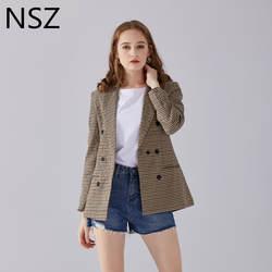 NSZ для женщин клетчатый блейзер с длинным рукавом двубортный тонкий клетчатое пальто официальная куртка офис костюм женская верхняя