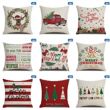 Christmas Deer Gifts Pattern Cotton Linen Throw Pillow Cushion Cover Car Home Sofa Decorative Pillowcase  45*45cm cute kitten cushion cover 45cm x 45cm cotton linen square home decorative sleeping cat throw pillow case sofa car office decor