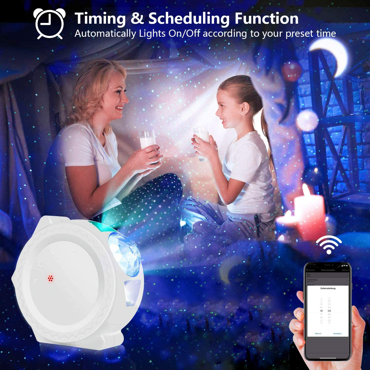 Smart life wifi APP starry sky projector galaxy projector stars moon ocean voice music control LED night light lamp for kid gift