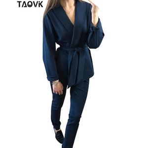 Image 3 - TAOVK Office Lady Pant Suits Womens Costume Belt Blazer top and pencil pants two piece outfits femme ensemble Pantsuit Spring