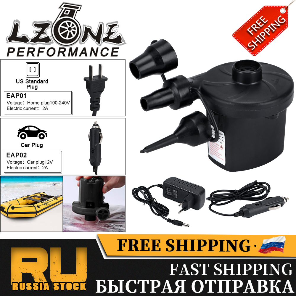 FREE SHIPPING EU Plug Electric Air Pump DC12V/AC240V Inflate Deflate Pumps Car Inflator Electropump With 3 Nozzles