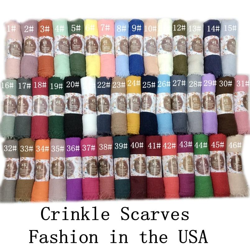 Crinkle Hijab Plain Wrinkle Wrap Bubble Cotton Viscose Long Shawl Scarf Women Hijab Shawl Muslim Head Hijab Scarf Wholesale 10pc