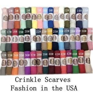 Image 1 - Crinkle Plain Falten Wrap Blase Baumwolle Viskose Lange Schal Schal Frauen Hijab Schal Muslimischen Kopf Hijab Schal 10 teile/los