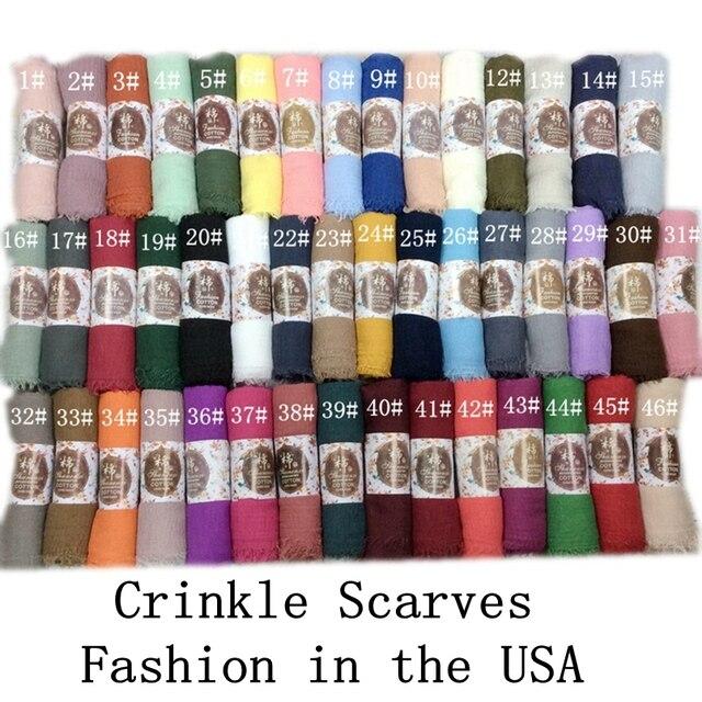 Crinkle Plain Falten Wrap Blase Baumwolle Viskose Lange Schal Schal Frauen Hijab Schal Muslimischen Kopf Hijab Schal 10 teile/los