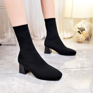 Image 3 - Women Boots Sock Knitting Winter 2019 Fashion High Heel Shoes Ladies Sock Boots Square Heels Stretch Fabric Woman Ankle Booties