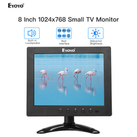 Eyoyo 8 HDMI Small TV 4:3 Monitor 1024x768 CCTV LCD IPS Screen HDMI VGA USB AV Remote Control Speakers DVD PC Security Display