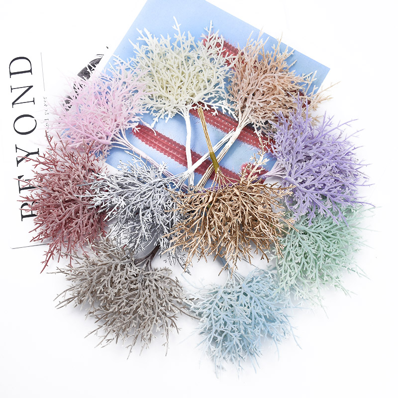 10/30 Pieces MINI Multicolor Branches Christmas Tree Wedding Decorative Flowers Wreaths Vases For Home Decor Artificial Plants