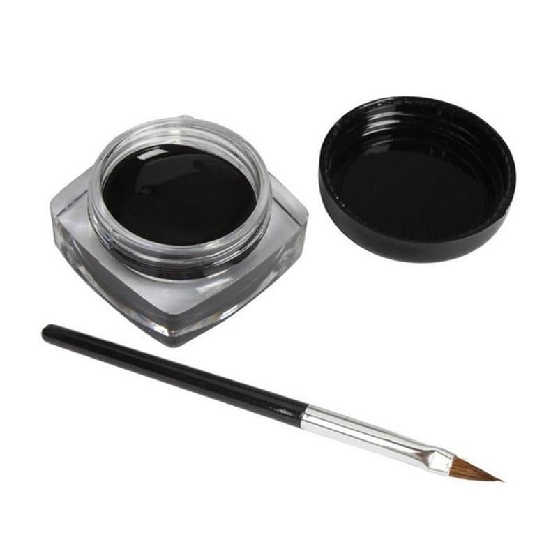 1xMini Eyeliner Gel Cream With Brush Makeup Cosmetic Black Waterproof Eye Liner Combinaciones Raso Eye Liner Waterproof Couleur
