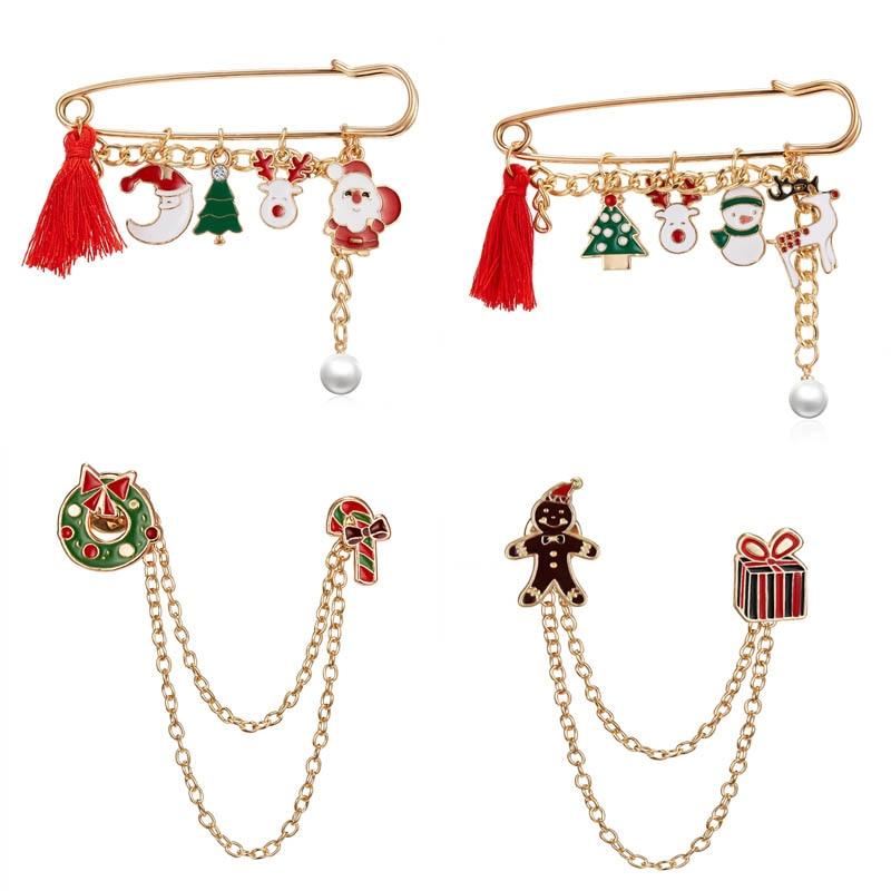 Рождественская брошь, булавки, Санта-Клаус, Рождественская елка, кисточка, жемчужная подвесная брошь, искусственные колокольчики, снежинка,...