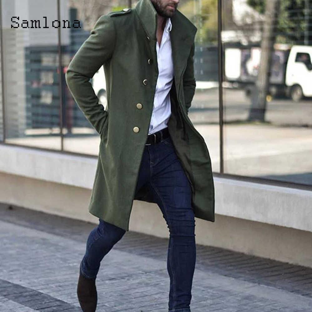 영국 스타일 2020 가을 울 혼합 코트 남성 의류 긴 자켓 단일 브레스트 옷깃 Manteau 겨울 튜닉 겉옷