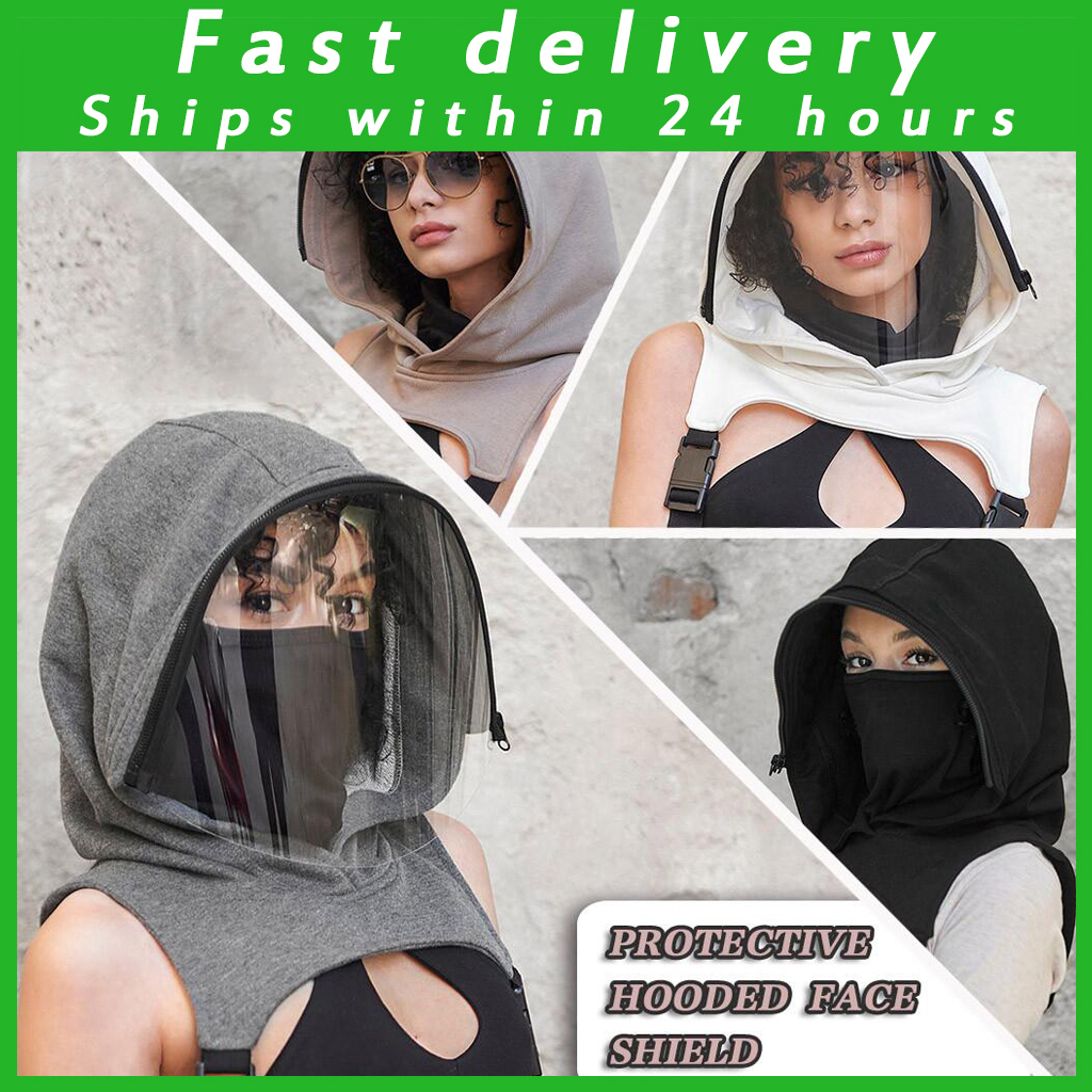 Full Protective Face Wear Clear Hooded Hat Adults Face Shield Reusable Removable Men Women's Outdoor Motorcycle Face Mask Masque