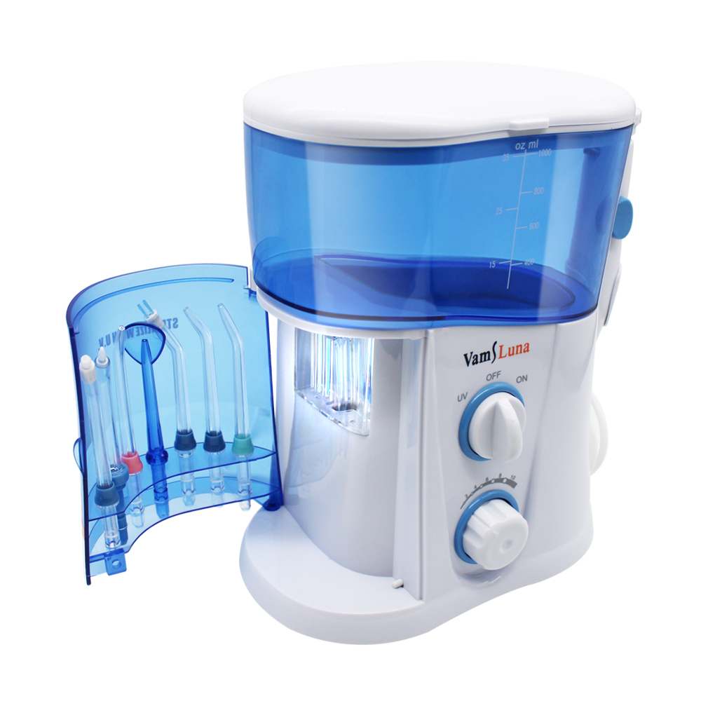 Image 2 - VamsLuna Water Flosser   O.two.O Dental Oral Irrigator Spa With 1000ML Tank And UV Disinfection For 7 Nozzles With Spain Manual-in Oral Irrigators from Home Appliances