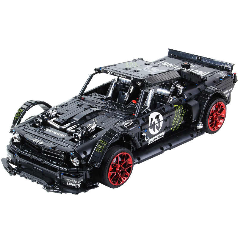 Ford Mustang Hoonicorn Rtr V2 Balap Mobil dengan Fungsi Power Lepined Teknik MOC-22970 Model Kit Bangunan Blok Batu Bata Mainan Anak