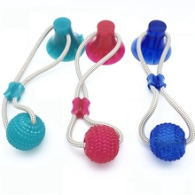 Pet Dog Self-playing Rubber Ball Toy With Suction Cup Interactive Molar Chew Teeth Cleaning Tools Supplies