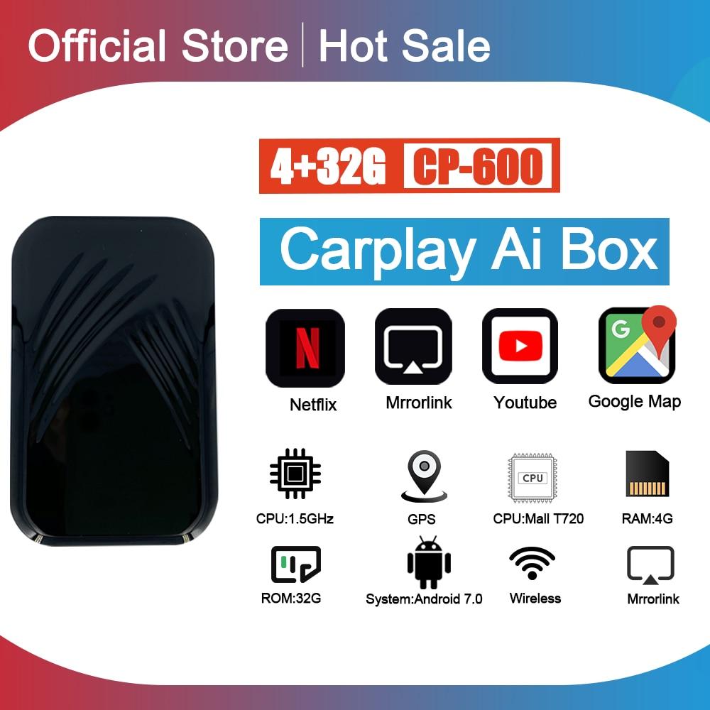 Carplay caja Ai coche reproductor Multimedia Nueva Versión 4 + 32G Android sistema de enlace espejo para Apple Carplay Android Auto caja de Tv
