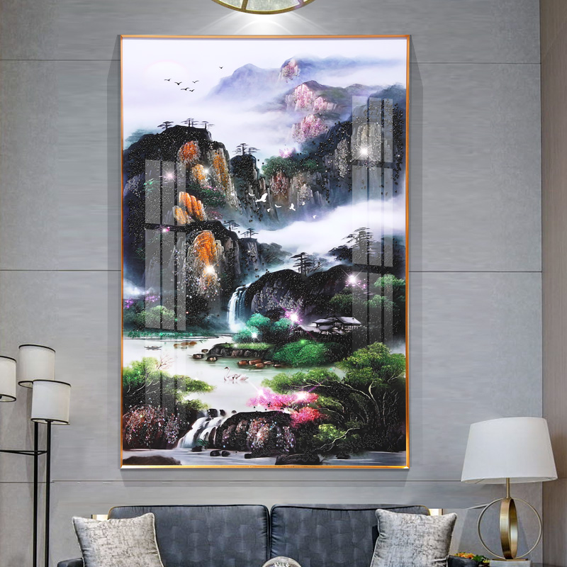 Porcelain Crystal Garden Mountain Framed Canvas Painting - Canvas Paintings Under $5,000