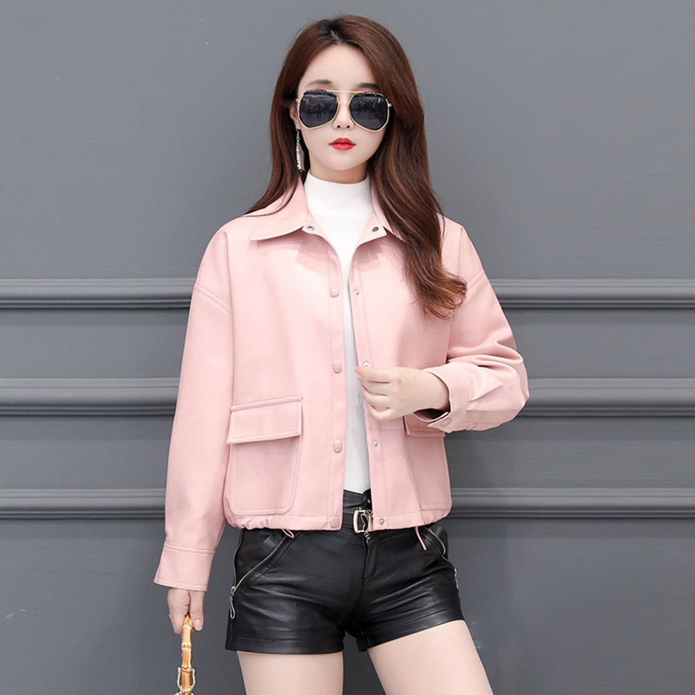Brieuces Spring Autumn Leather Jacket Women Faux Fur Coat Ladies Slim Short Motorcycle Biker Drawstring Basic Jacket Coat