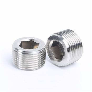 304 Stainless Steel Hexagon Pipe 1/8 1/4 3/8 1/2 3/4 1 - 2 BSPT / NPT Male Countersunk End Plug Fitting Water Gas Oil 1 pcs 1 8 1 4 3 8 1 2 npt bspt male thread x inch tube od pneumatic kitchen pipe compression plug connector fitting sus 304