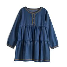 CupofSweet Denim Tiered Girls Dress Shirt Kids Clothing 2019 Autumn Fashion Long Sleeves Children Loose Casual Kid Girl Dresses