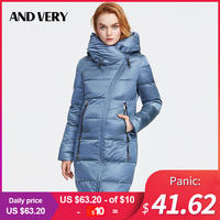 ANDVERY 2019 Winter new collection women down jacket thick cotton blue hooded warm parkas BIG size style long coat women 9853D