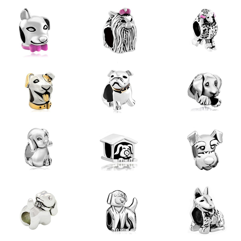New product Poodle Puppy Dog animal bead charms Fit Pandora Bracelet