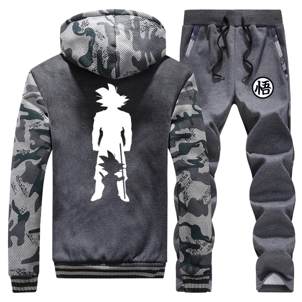 Dragon Ball Zip Jacket Thick Pants Men Winter Streetwear Track Set 2019 New Anime Mens Sports Clothes Camouflage Tops Camouflage