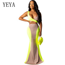 купить YEYA Hollow Out Contrast Color Two Pieces Floor-length Dress Sexy Sleeveless V-neck Long Maxi Bodycon Dress Summer Club Wear по цене 1109.84 рублей