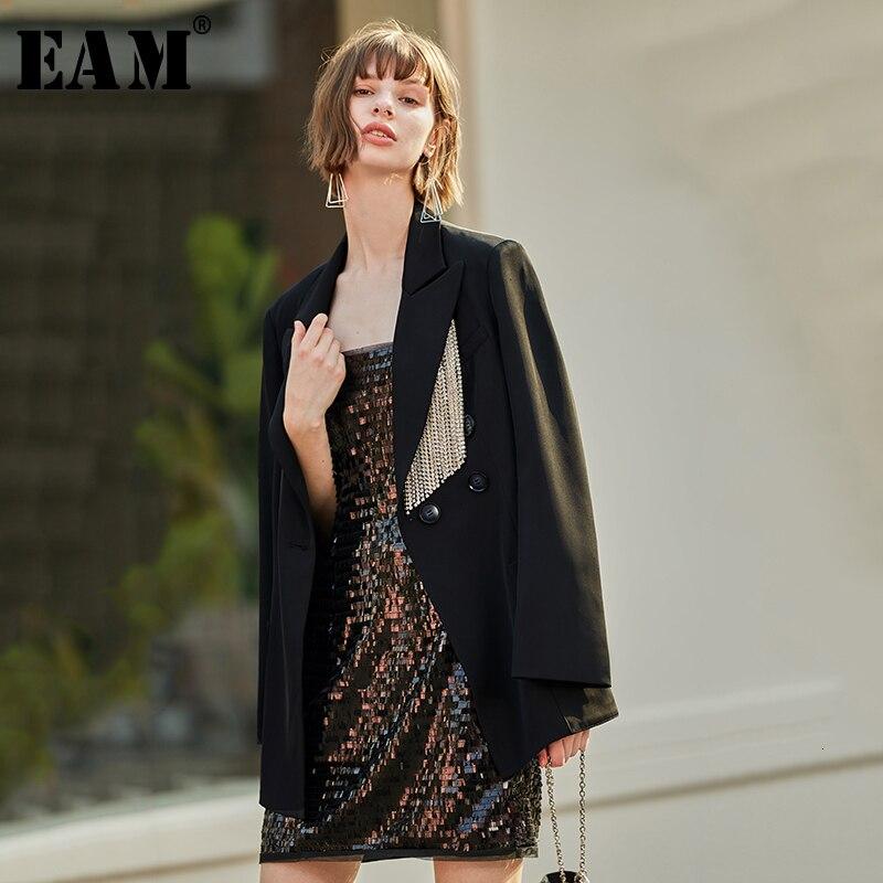 [EAM] Loose Fit Black Rhinestone Tassels Long Jacket New Lapel Long Sleeve Women Coat Fashion Tide Spring Autumn 2020 1D130