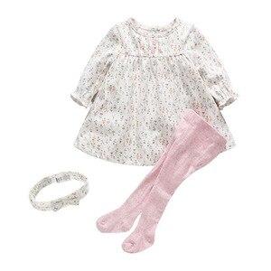 Vestido para niñas recién nacidas, vestido estampado floral para bebé, vestidos para niñas + Leggings + diadema, conjunto de 3 unids/set otoño 0-3 años