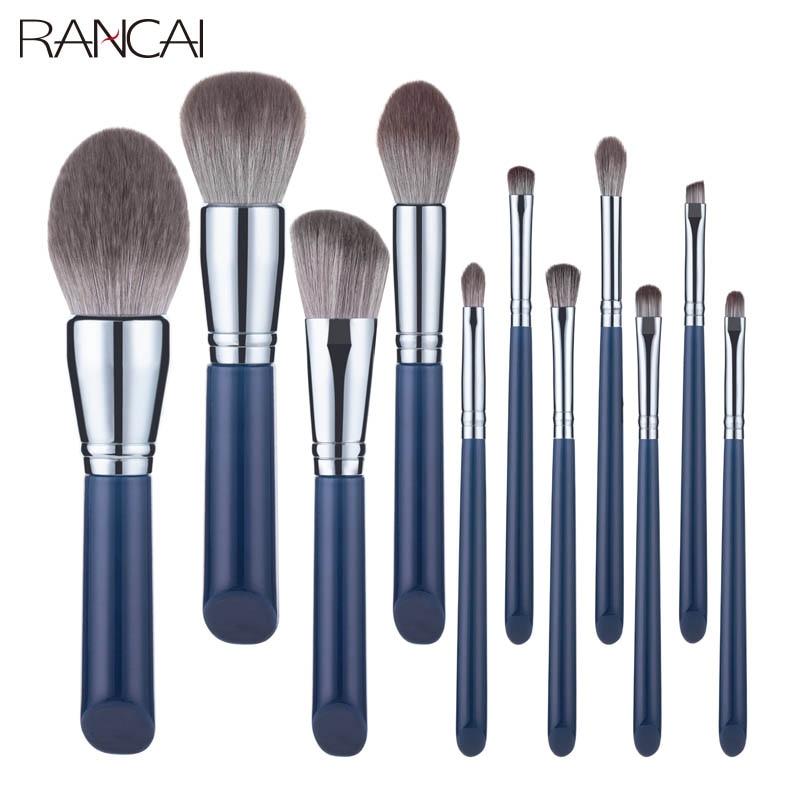 RANCAI 11pcs High Quality Makeup Brushes Set Large Loose Powder Foundation Highlight Contour EyeShadow Oblique Eyebrow Soft Hair