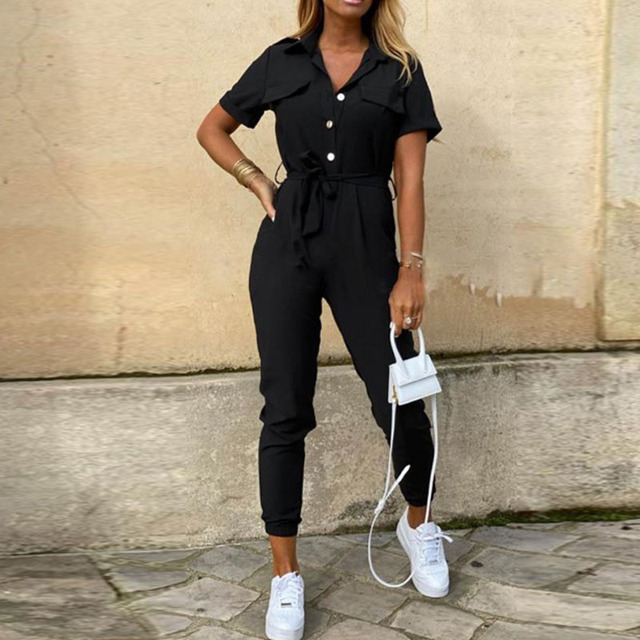 Women Casual Solid Color Jumpsuit 2020 Summer Deep V Neck Button Shirt Overalls Short Sleeve Office Lady One Piece Romper Belt
