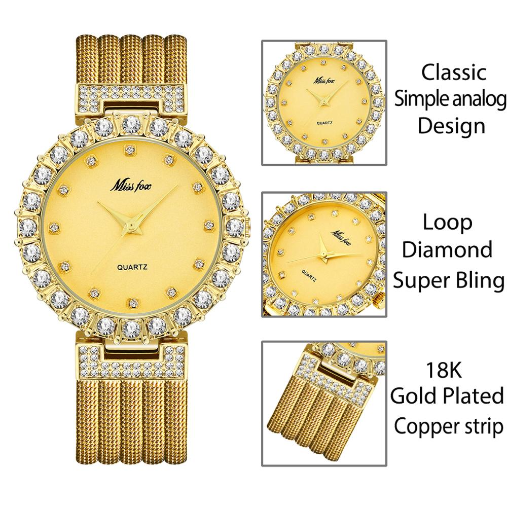 MISSFOX Women Watches Luxury Brand Watch Bracelet Waterproof Big Lab Diamond Ladies Wrist Watches For Women Quartz Clock Hours 3
