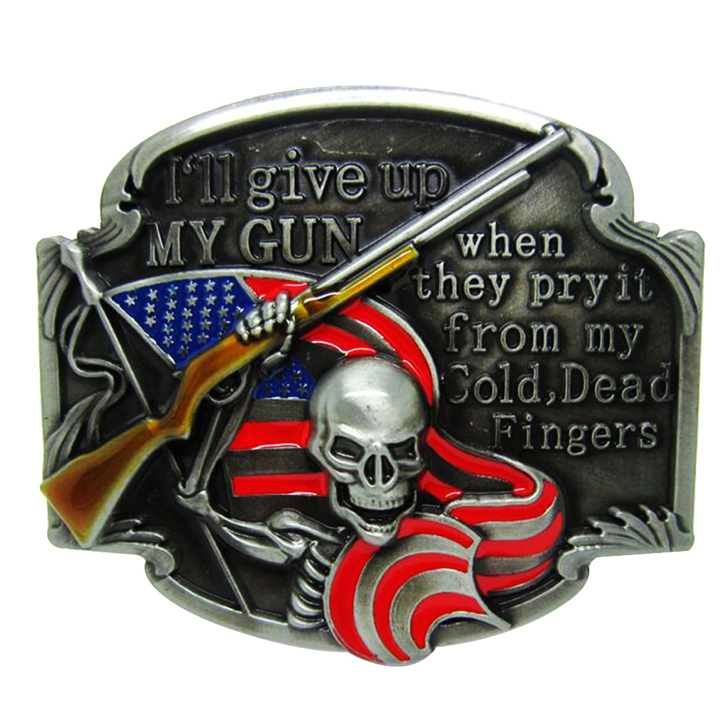 Zinc Alloy Skull With Red Flag Belt Buckle Skeleton Cowboy Cowgirl Classic Halloween