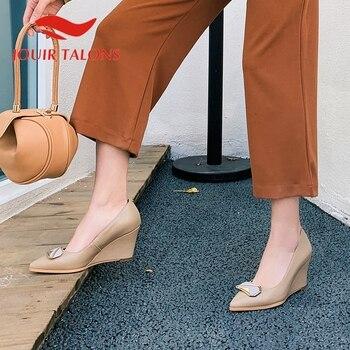 JOUIR TALONS 2020 Brand Design Genuine Leather Women Sandals Wedges Pointed Toe Metal Decoration Spring/Autumn Dress Women Shoes