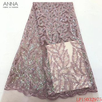 Anna african sequins lace fabric 2020 high quality embroidered nigerian tulle fabrics 5 yards/piece french net laces for sewing