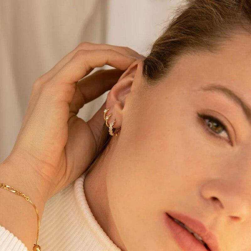 CANNER Zircon CZ Crystal 925 Sterling Silver Hoop Earrings for Women Circle Earrings GoldColor Huggie Earings Jewelry pendientes