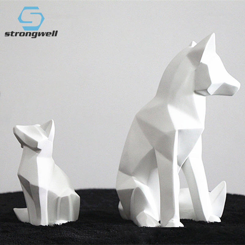 Strongwell Nordic Geometric White Fox Abstract Sculpture Animal Statue Resin Crafts Home Decoration Modern Wedding Birthday Gift