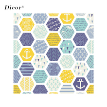 45/90x200CM DICOR Colorful Hexagon Stained Glass Sticker Modern Art Window Film For Home Decor BLT2166KJ