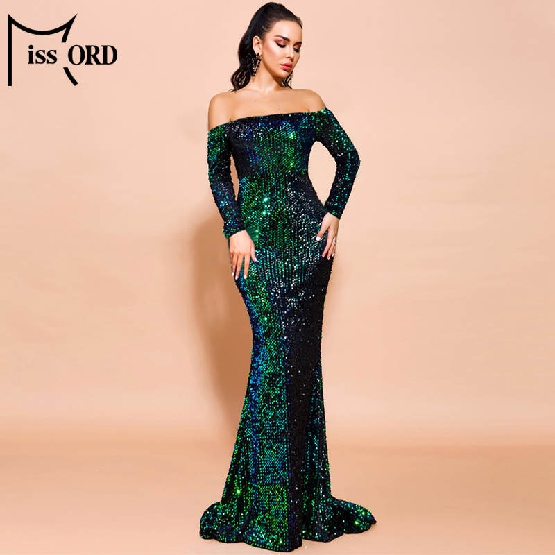 Missord 2020 Women Sexy Off Shoulder  Long  Sleeve Sequin floor length Evening  Maxi Reflective Dress Vestdios  FT20245-1