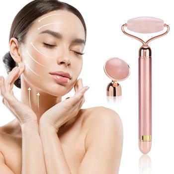 Elektryczna wibrująca rolka jadeitowa Natural Rose Quartz odchudzanie Lifting twarzy oryginalne narzędzie do masażu kosmetycznego z zielonego jadeitu tanie i dobre opinie MOFAJIANG Metal Electric Maszyna wykonana Odmładzanie skóry Napinania skóry Twarzy czyste Masaż wibracyjny Real jade facial roller