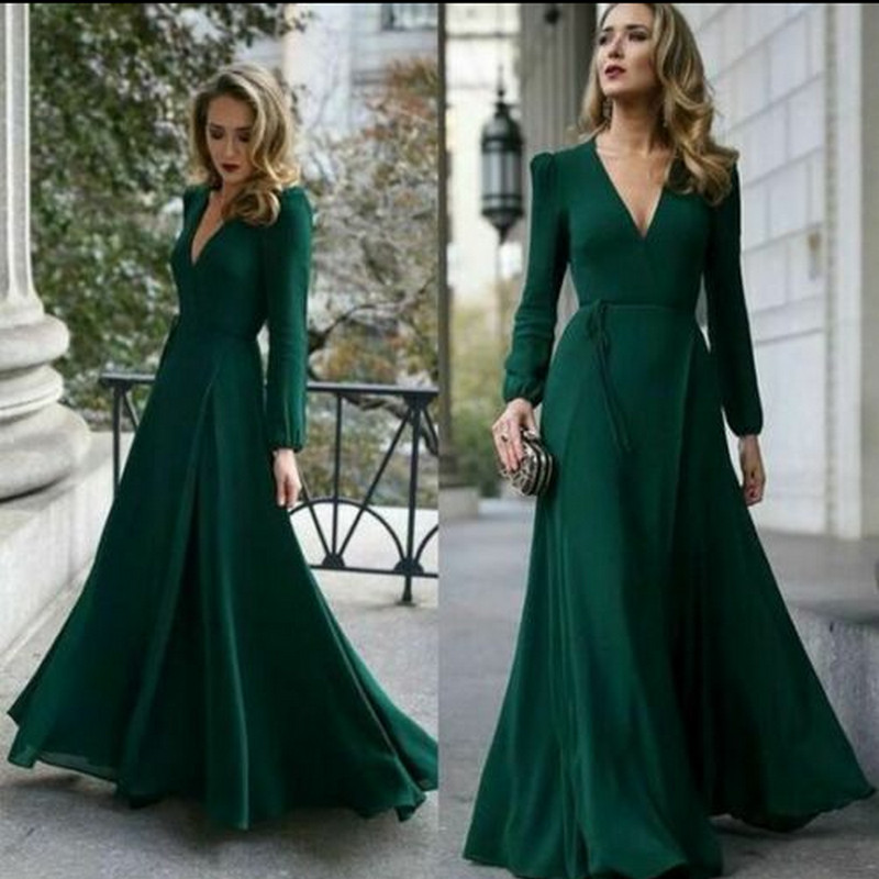 Vintage Womens Dress Fashion Deep V-Neck High Slit Maxi Long Dress Elegant Slim Long Sleeve Prom Gown Evening Party Dress Hot