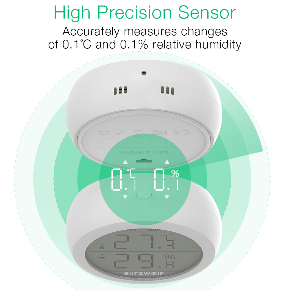 Image 5 - BlitzWolf ZigBee Wireless Connection LCD Screen Smart Home 50m  Detection Temperature and Humidity Sensor Thermometer HygrometerSmart  Remote Control