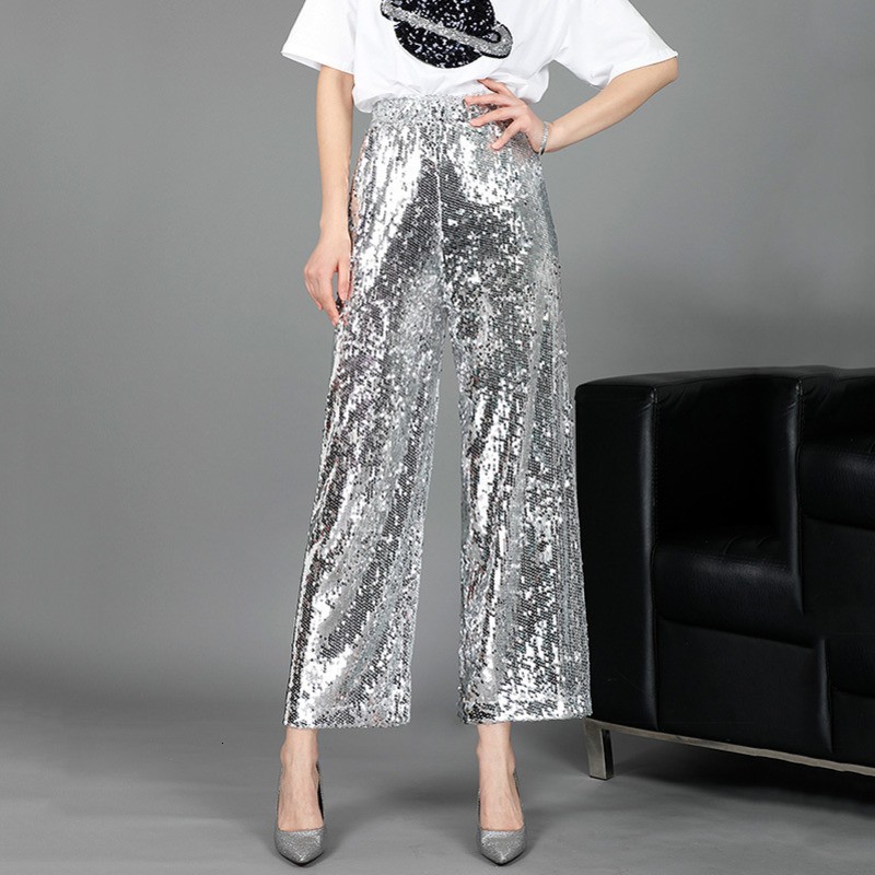 TVVOVVIN Silver Elastic High Waist Full Sequins Nine Points   Wide     Leg     Pants   Woman Casual Wild Simple Fashion 2019 Autumn New X014