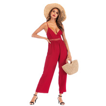 2020 New Women Sleeveless V Neck Solid color Jumpsuits Chiffon Summer Loose Playsuit Sexy Long Pants sexy square neck solid color button embellished sleeveless romper for women
