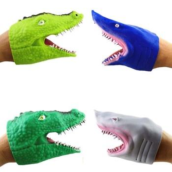 Rekin pacynka głowa zwierzęcia rękawiczki dla dzieci zabawki prezent pacynka dla opowieści rekin Model figurka zabawka Gag żarty prezenty dla dzieci tanie i dobre opinie SONGYI 4-6y 7-12y 12 + y 18 + CN (pochodzenie) lalki RUBBER NONE Unisex children (4-6 years old)